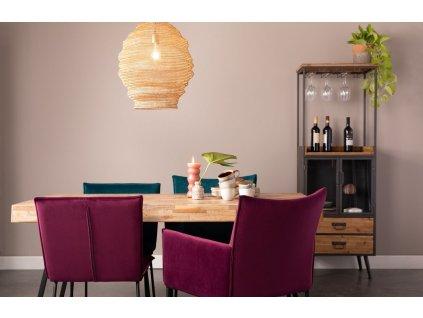 Vínová sametová jídelní židle WLL FLOKE