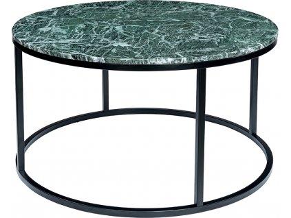Černý kulatý konferenční stolek RGE Accent 85 cm se zelenou mramorovou deskou