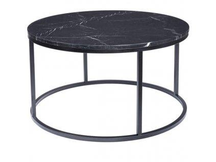 Černý kulatý konferenční stolek RGE Accent 85 cm s černou mramorovou deskou
