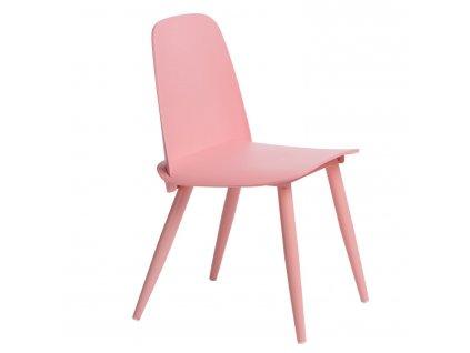 Růžová plastová jídelní židle Toby