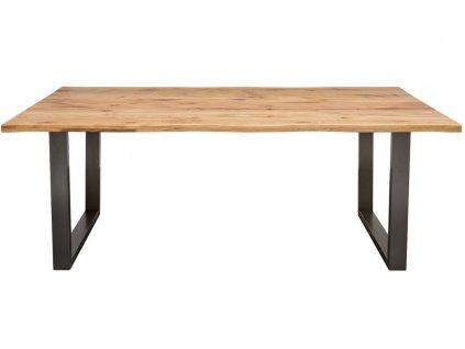 Masivní dubový dřevěný jídelní stůl Axel 180x90 cm s kovovou podnoží