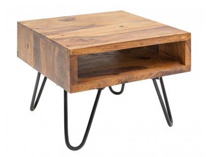 Masivní sheesha0mový dřevěný konferenční stolek Remus 45x45 cm s kovovou podnoží a prostornou policí