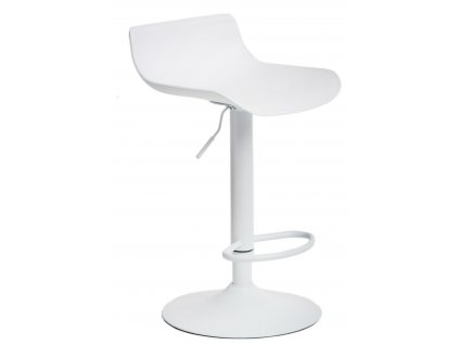 Bílá barová kovová židle Charles s podnožkou