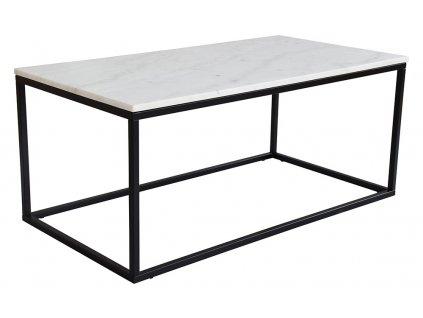 Bílý mramorový konferenční stolek RGE Accent s kovou černou podnoží 110 cm