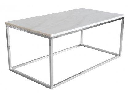 Bílý mramorový konferenční stolek RGE Accent s kovou chromovou podnoží 110 cm