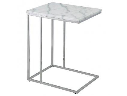 Chromový odkládací stolek RGE Accent 62 cm s bílou mramorovou deskou