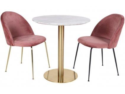 Mramorový kulatý jídelní stůl Nordic Living Ascona 70 cm s kovovou podnoží