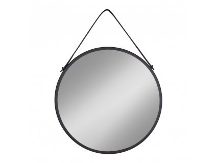Černé závěsné kulaté  kovové zrcadlo Nordic Living Chantal 60cm