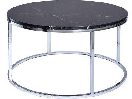 Černý kulatý mramorový konferenční stolek RGE Accent 85 cm s kovovou chromovou podnoží