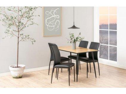 Černá čalouněná jídelní židle Presley s kovovou podnoží