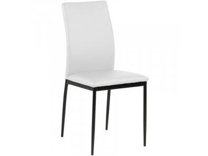Bílá koženková jídelní židle Presley