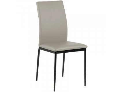 Světle šedá koženková jídelní židle Presley