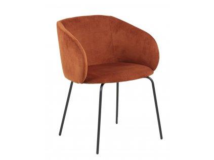 Měděná čalouněná jídelní židle Carol s kovovou podnoží