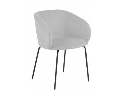 Světle šedá čalouněná jídelní židle Carol s kovovou podnoží