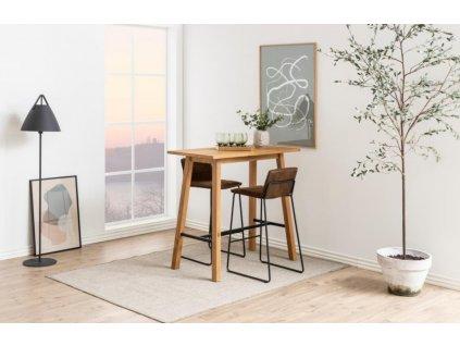 Hnědá barová židle Olivie s kovovou podnoží