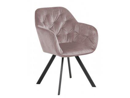 Světle růžová sametová jídelní židle Thalia s kovovou podnoží
