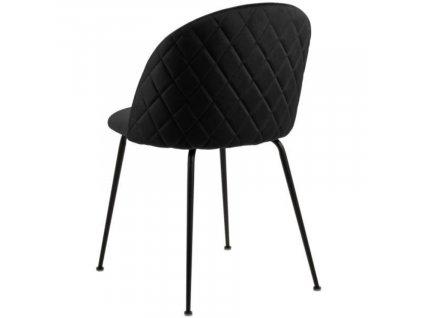 Černá čalouněná jídelní židle Harper s kovovou podnoží
