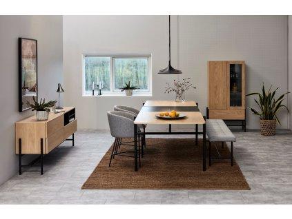 Šedá čalouněná látková jídelní lavice Gina 160 cm s kovovou podnoží