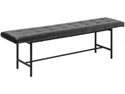 Černá sametová čalouněná jídelní lavice Gina 160 cm s kovovou podnoží
