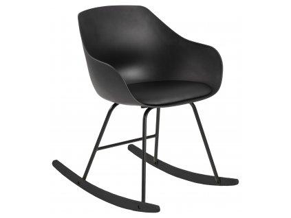 Černé plastové houpací křeslo Durana s koženkovým sedákem