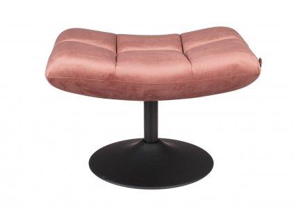 Růžová sametová čalouněná podnožka DUTCHBONE BAR s kovovou podnoží