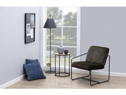 Kulatý dubový dřevěný kovový odkládací stolek Darila 55 cm s kovovou podnoží