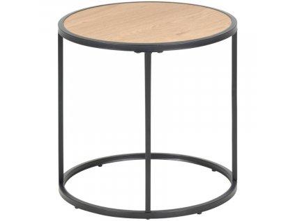 Kulatý dřevěný dubový kovový odkládací stolek Darila 43 cm s kovovou podnoží