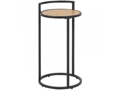 Kulatý dubový dřevěný kovový odkládací stolek na lampu Darila 65 cm na lampičku s kovovou podnoží