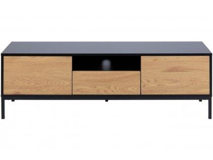 Dubový dřevěný černý TV stolek Darila 140 cm s kovovou podnoží