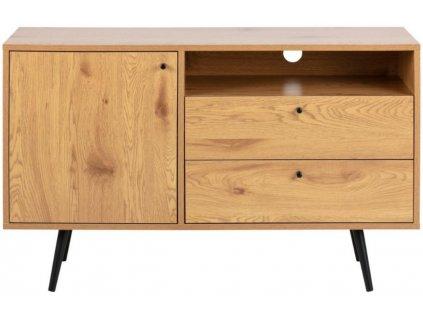 Dubový melaminový dřevěný TV stolek Jerry 124 cm s kovovou podnoží