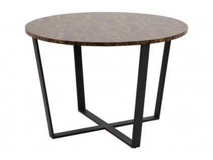 Černý kulatý kovový jídelní stůl Calvin 110 cm s mramorovou deskou s kovovou podnoží