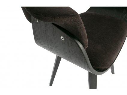 Hnědá sametová čalouněná dřevěná jídelní židle Molly z dřevěné dýhy