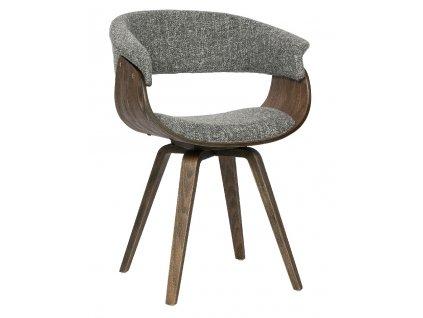 Šedá čalouněná látková dřevěná jídelní židle Molly z dřevěné dýhy