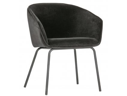 Set dvou černých sametových čalouněných jídelních židlí Susan s kovovou podnoží