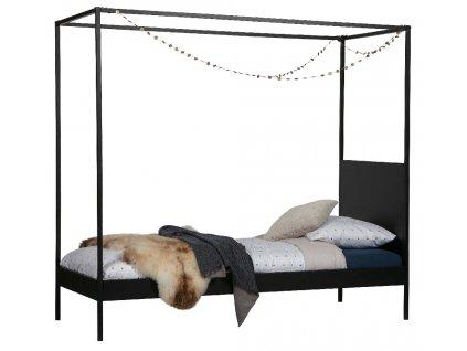 Černá kovová postel Iris 90x200 cm s nebesy