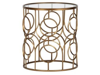 Kovový kulatý skleněný odkládací stolek Antique 40 cm