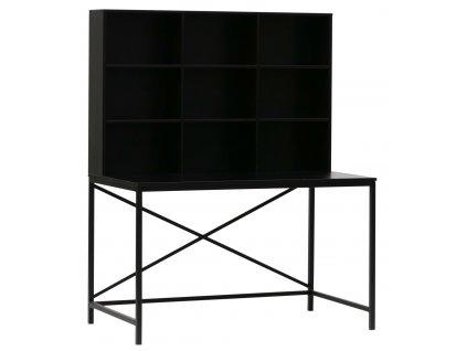 Černý dřevěný pracovní stůl Samson s úložným prostorem s kovovou podnoží