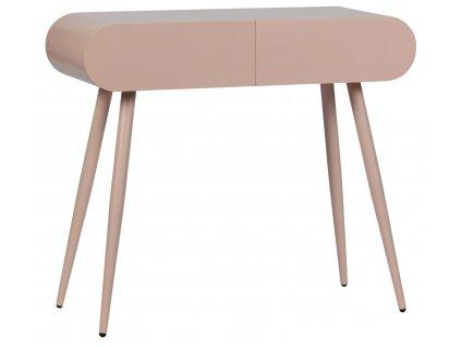 Růžový dřevěný toaletní stolek Flora se šuplíky