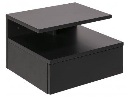 Tmavě šedý dřevěný noční stolek Alison se šuplíkem