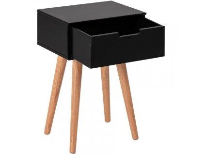 Černý dřevěný noční stolek Marika s dubovou podnoží