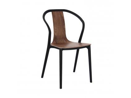Ořechově hnědá plastová jídelní židle Ollie s dřevěným sedákem