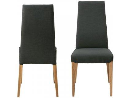 Černá čalouněná jídelní židle Margie s dubovou podnoží