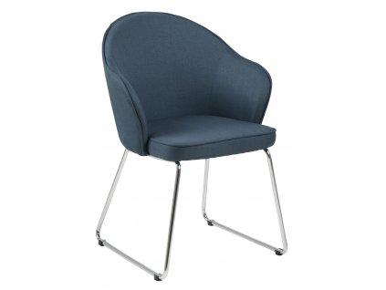 Tmavě modrá čalouněná jídelní židle Adriana s chromovanou podnoží