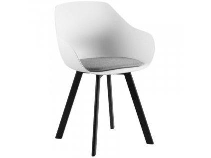 Bílá jídelní židle Durana s kovovou podnoží