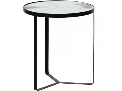 Skleněný odkládací stolek Corbie 45 cm s kovovou podnoží