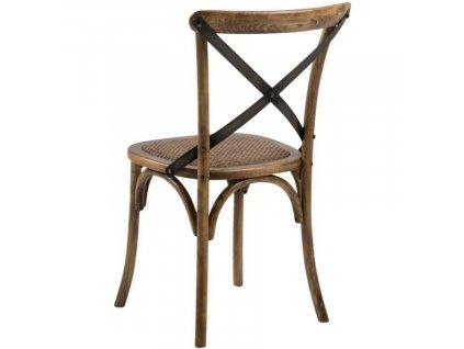 Hnědá ratanová jídelní židle Meadow s dřevěnou podnoží