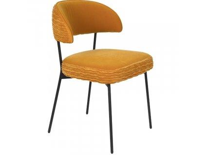 Žlutá sametová židle s nařaseným vzorem Bold Monkey The Winner Takes It All