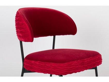 Červená sametová židle s nařaseným vzorem Bold Monkey The Winner Takes It All