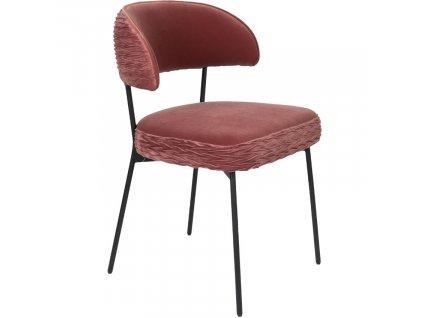 Růžová sametová židle s nařaseným vzorem Bold Monkey The Winner Takes It All