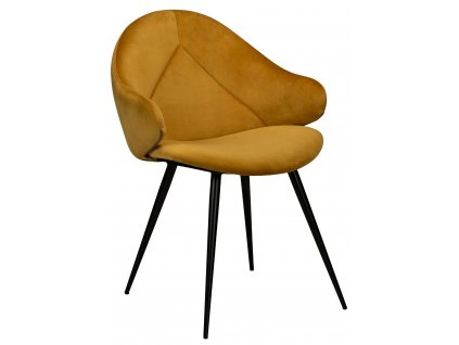 Hořčicová  sametová jídelní židle DanForm Manta